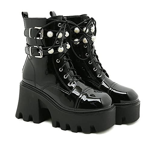 Botas de Plataforma Punk para Mujer, Botas de Cuña con Cremallera Lateral, Botas Punk Rock Gótico Militar Motero Botas Altas,Negro,40 EU