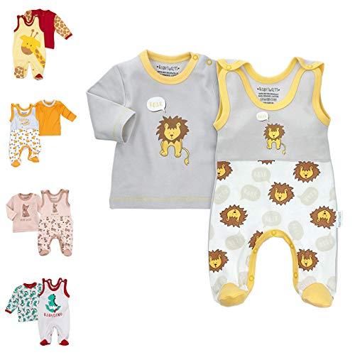 Baby Sweets 2er Baby-Strampler-Set mit Strampler & Shirt für Mädchen & Jungen/Baby-Erstausstattung in Grau-Gelb im Löwen-Motiv als Babykleidung/Baby-Outfit Bio-Baumwolle/Größe: 3-6 Monate (68)
