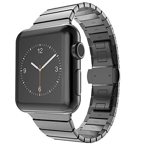 CoverKingz Edelstahl Band kompatibel mit Apple Watch Series 6/SE/5/4/3/2/1 Armband, Gliederarmband 38mm/40mm, Stainless Steel Strap Schwarz