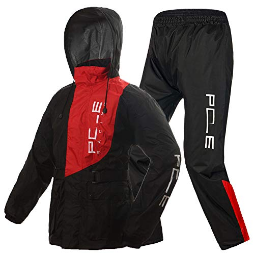 Impermeable Traje de Lluvia para Moto para Hombres Mujeres Split Ropa Traje Impermeable con Rayas Reflectantes,Rojo,L