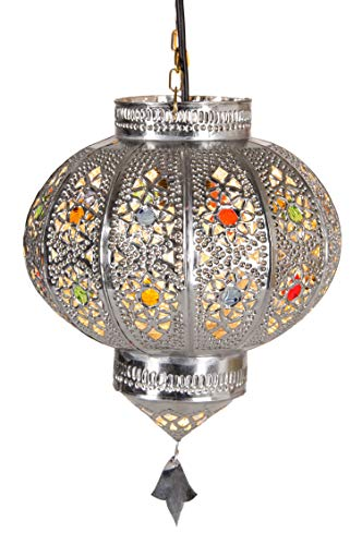 Orientalische Lampe Pendelleuchte Silber Malak E27 Lampenfassung | Marokkanische Design Hängeleuchte Leuchte aus Marokko | Orient Lampen für Wohnzimmer, Küche oder Hängend über den Esstisch