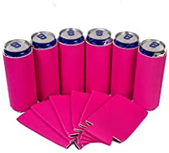 QualityPerfection Ultra Slim Can Sleeves Premium Slim Beer Can,Energy Sleeves Great 4 Holidays,Events,Parties,Independence Day (12, Pink)