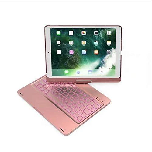 WLWLEO beschermhoes voor iPad 9.7 / PRO 9.7 / Pro 9.7 / Wireless Air / Air2 Bluetooth-toetsenbord met achtergrondverlichting met 7 kleuren 360 draaibaar