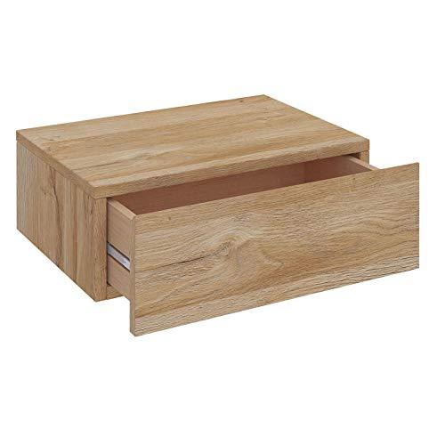 CARO-Möbel Wandregal Anne hängende Nachtkommode Wandboard Nachttisch mit 1 Schublade schwebend, grifflose, in Wildeiche