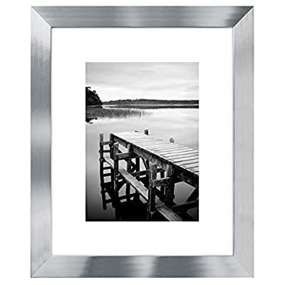 """Americanflat Picture Frame Silver MDF with Lead Free Polished Glass - Horizontal and Vertical Formats for Wall and Tabletop - 8"""" x 10"""""""