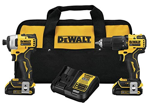DEWALT DCK279C2 ATOMIC 20V MAX Lithium-Ion Brushless Cordless 1/2 in. Hammer Drill Driver and 1/4 in. Impact Driver Combo Kit (Renewed)
