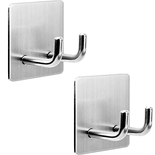 Robe Towel Hooks Coat Hooks, Double Prong Shower Holder for Razor Loofah Bathrobe [Self Adhesive - Heavy Duty Stainless Steel - Multi Purpose] Kitchen Hooks for Utensils, Bathroom Hanger Organizer