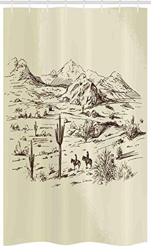 ABAKUHAUS amerikanisch Schmaler Duschvorhang, Wild West Cowboys, Badezimmer Deko Set aus Stoff mit Haken, 120 x 180 cm, Beige Schwarz