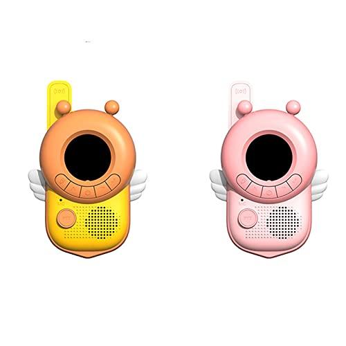 Qingxin Paquete de 2 walkie talkies para niños juegos al aire libre inalámbrico mano forma de abeja 3 km juguete interactivo regalo para niños niñas