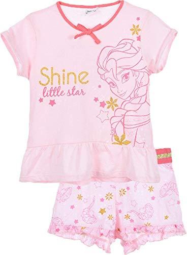 Disney die Eiskönigin Shorty Kurzarm Schlafanzug mit Gold Applikationen Rosa 128 (8 Jahre)