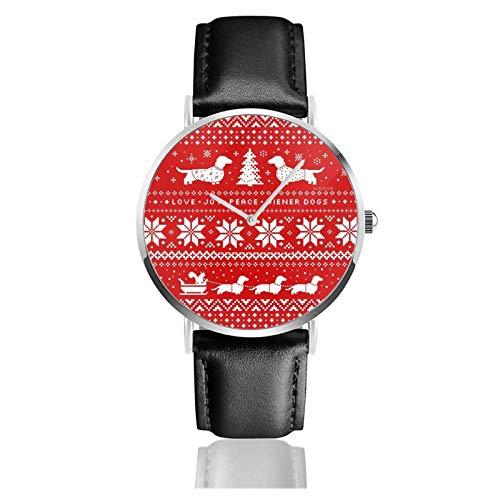Montre à quartz en acier inoxydable avec motif de pull de Noël - Unisexe - Classique - Décontracté - Tendance - Avec bracelet en cuir