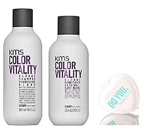 Color Vitality BLONDE Shampoo & Conditioner, Anti-Yellow DUO Set - Purple/Violet Formula (w/Sleek Compact Travel Mirror) Hair Color Dye Haircolor (BLONDE - 10.1 oz + 8.5 oz Original DUO KIT)