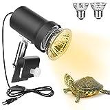 Zacro Lámpara para Tortuga, 360° Rotación Lámpara de Calor Reptil Anfibioss Lámpara de Cristal de Tortuga UVA (25W) UVB (50W), para Tortuga, Lagartos, Camaleones ect (para ≤1mm contenedor de Vidrio)
