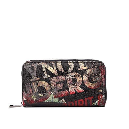 YNOT UND-361F0 Wallet Zip Around, Scritte Grunge, Portafogli Donna, Nero, 19x3x11 (W x H x L)