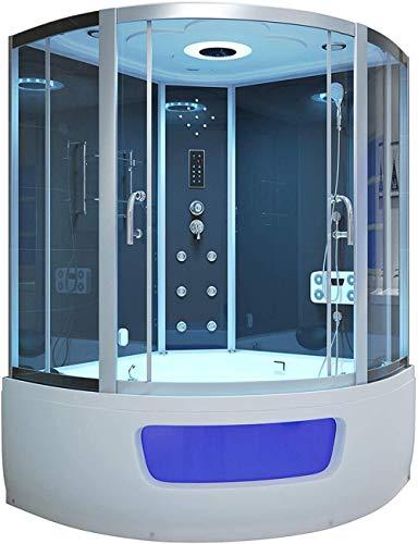 Cabina de ducha de vapor con 16 chorros de hidromasaje jacuzzi bañera ducha cubículo y masaje de pies (2 asientos) - ZM48