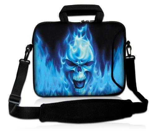Luxburg® Design Laptoptasche Notebooktasche Sleeve mit Schultergurt & Fach für 17,3 Zoll, Motiv: Blaues Feuer Totenkopf
