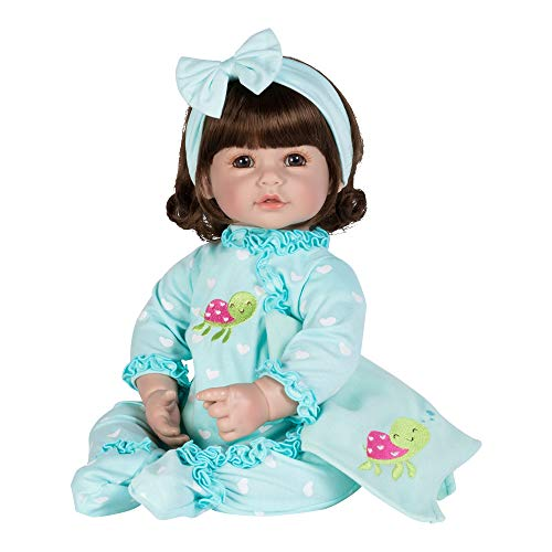 Adora Toddler Doll Sleepy Turtle with jersey knit embroidered PJs and fleece blankie Blue 20 inches