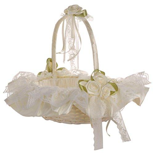 VALICLUD Canasta de niña de Las Flores de la Boda Canasta de Novia de Encaje para la decoración de la Fiesta de la Ceremonia de la Boda (Blanco como la Leche) decoración de Fiesta