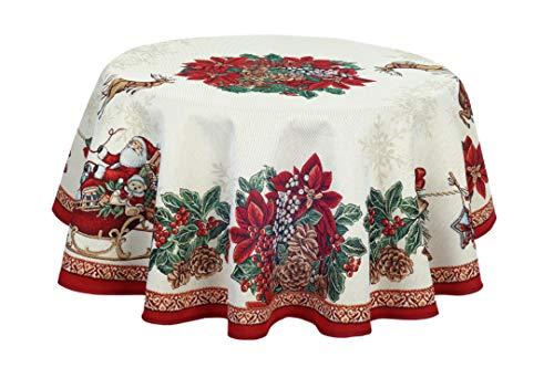 Provencestoffe.com Wunderbare romantische Weihnachtsdecke, Gobelin, 140 cm Durchmesser