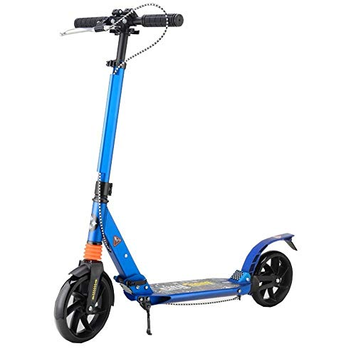 WHOJS Patinete Pedal de Aluminio Todo con Freno de Mano Patinete Scooter de 2 Ruedas Campus de la Ciudad Fácil de Plegar Adulto/Juventud Altura Ajustable Construcción Ligera (Color : Blue)