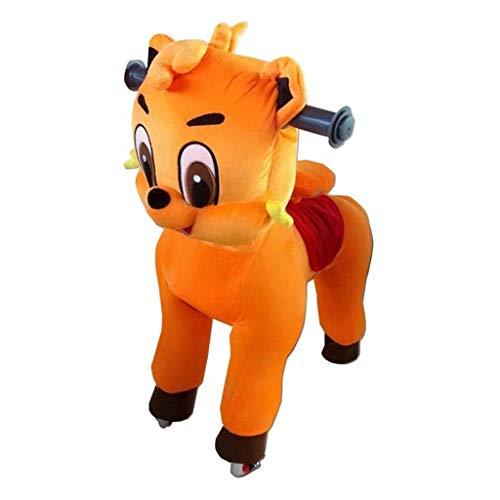 Caballo Mecanico Paseo en el caballo del juguete de la felpa animal que camina anaranjado del gato, caballo mecedora pequeña for niños Acción Pony caballo paseo en Pony presente caballo for los niños