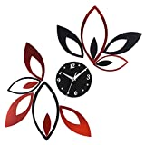 Toprate Mirror Wall Clock, Red and Black Rhombus Leaves Sticker Decoration