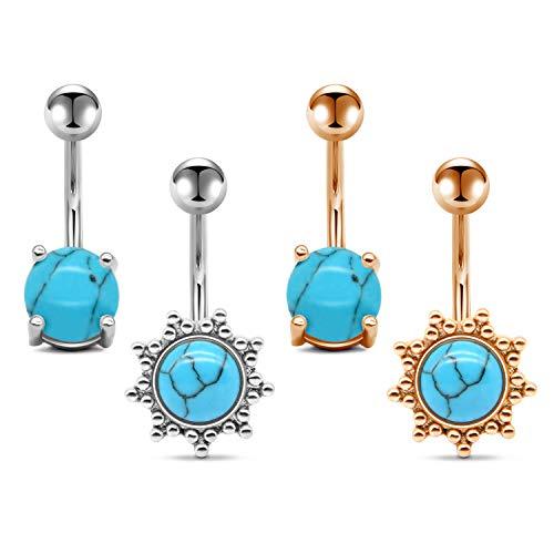 AVYRING Navelpiercing voor dames en meisjes, 14G turquoise, chirurgisch staal, staafje van 10 mm