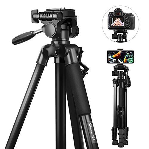 Stativ Kamera, GooFoto 148cm Leichtes Aluminium-Kamerastativ für DSLR Canon/Nikon/Sony, Handy Stativ für iPhone/Samsung/Huawei, Reisestativ mit Tragetasche und Telefonclip, Maximale Belastung 5 kg