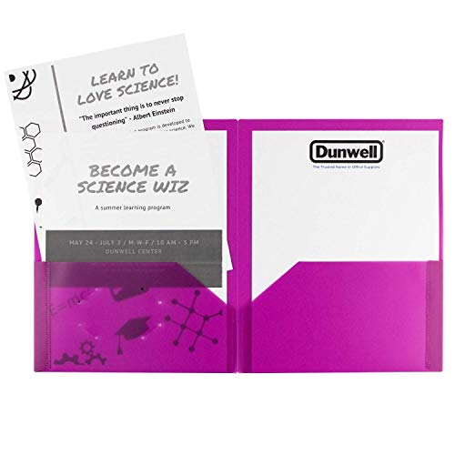Dunwell Colored Pocket Folders, 2-Pocket File Folders (12 Pack, 6 Assorted Colors + 6 Red) School Folders, Plastic Folders with Labels, Two Pocket Folders, Letter Size File Folders with Pockets Photo #2