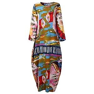 Women's Plus Size Loose Cotton Linen Long Kaftan Dress with Pockets