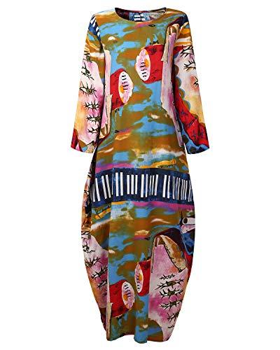 AUDATE Women's Vintage Casual Beach Party Long Cotton Dress Linen Clothing 4XL