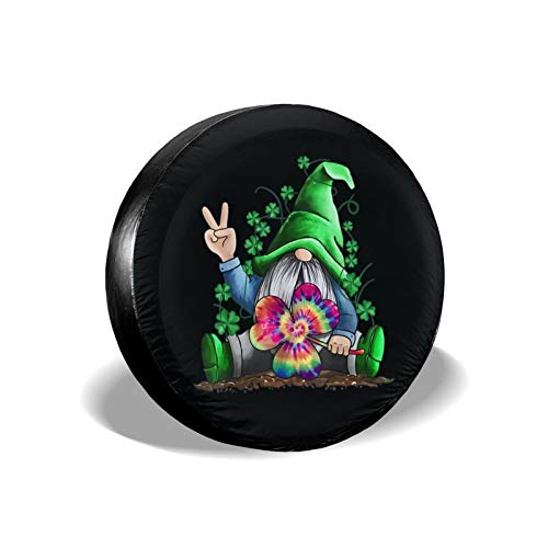 Hevenjx Gnome Tie Dye Shamrock St Patricks Day 2021 Waterproof Spare Tire Cover Universal Wheel Covers for Jeep Liberty Wrangler SUV Camper Travel Trailer Accessories