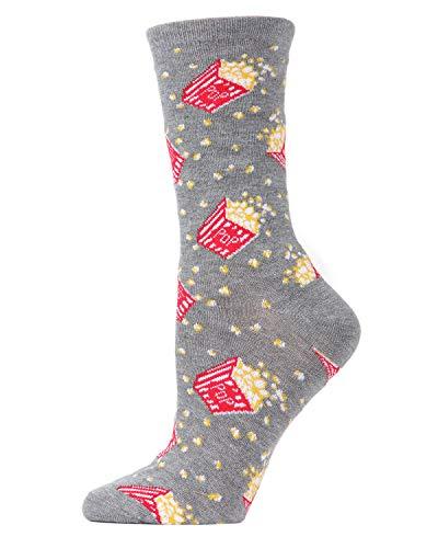 MeMoi Popcorn Bamboo Blend Crew Socks | Fun Novelty Socks Medium Gray Heather MCV04100 One Size