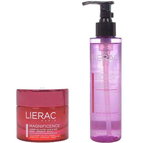 Magnificence de Lierac Crema aterciopelada de día y noche, 50 ml + agua de limpieza micelar gratis, 200 ml, 50 ml.