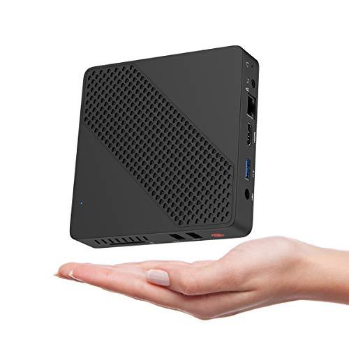 Mini PC Lüfterlos Intel Celeron N3350 (bis zu 2,4 GHz) 4 GB LPDDR4 / 64 GB eMMC Mini-Desktop-Computer Windows 10 Pro HDMI und VGA BT4.2 Dual WiFi 3xUSB3.0 M.2 NGFF 2242 SSD Auto Power On