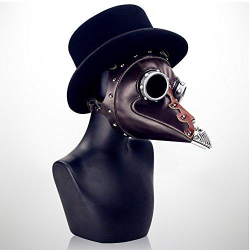 CX Best Steampunk Plague Máscara de Pico Disfraz Fiesta de Disfraces de Halloween Máscara de Juego Medieval Plague Doctor Disfraz Disfraz Capucha Manto