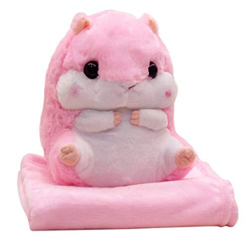WYJW Sweet Hamster Plush Pillows with Fleece Blankets Soft Toys Baby Kids Pillows Decoraciones para el Cuarto de niños (1 Hamster Pillow + 1.7m Blanket, Pink)
