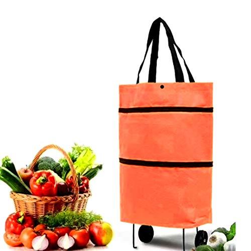 Bolsa de Compras Bolsa de Compras Plegable Plegable portátil de Gran Capacidad con Ruedas , con 2 Ruedas, para el supermercado casero Resistente Bolsa de la Capacidad de la Bolsa de Compras