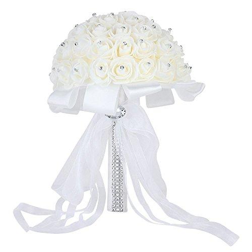Wedding Bridal Bouquet, Febou Handmade Crystal Ribbon Rhinestone Wedding Bridesmaid Bouquet, Bridal Artificial Flowers for Wedding (White-Crystal Small Size)
