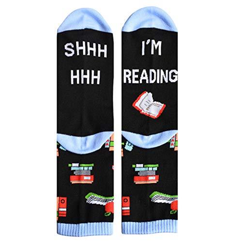 Losping Damen-Socken mit lustigem Spruch Shhh I Am Reading Books, Unisex Mid Tube Strumpfwaren
