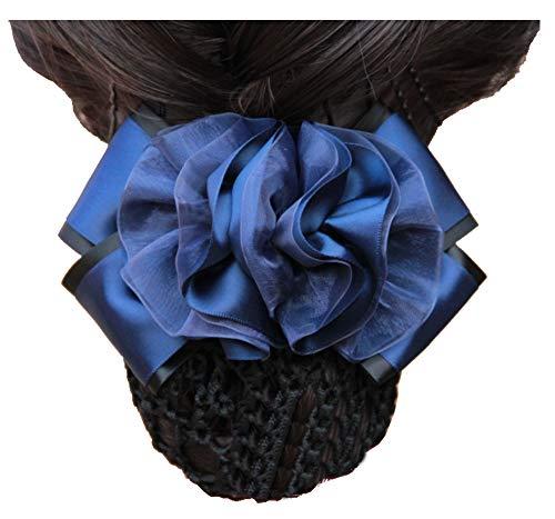 Fleurs bleu foncé décor snood net barrette clip pince à cheveux