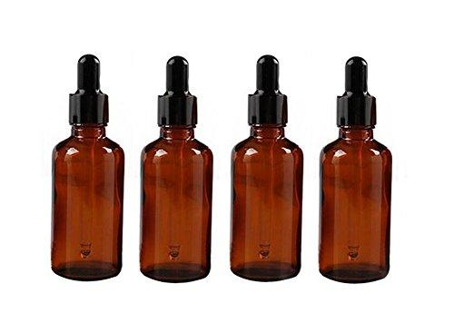 4 botellas vacías de cristal de ámbar recargables de 50 ml para aceites esenciales, productos químicos de laboratorio, perfumes de colonia y otros líquidos.