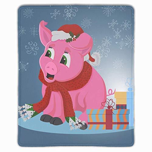 Lustiges rosa Schwein im Weihnachtsmann-Hut-Rechteck rutschfeste Gummi-Mauspad-Mauspads / Mausmatten-Fallabdeckung