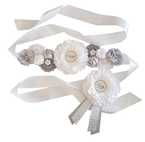 Mommy To Be Maternity Sash and Matching Daddy To Be Corsage Pin By LMC | White and Gray Baby Shower Sash Belt Keepsake | USA Hand Made | 7 FT Double Sided Satin Ribbon | Heat Sealed Ends