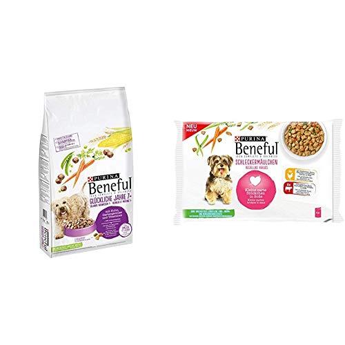 PURINA BENEFUL Trocken- und Nassfutter Mix-Pack, Glückliche Jahre Huhn und Schleckermäulchen Huhn, (1 x 12kg und 10 x 400g)