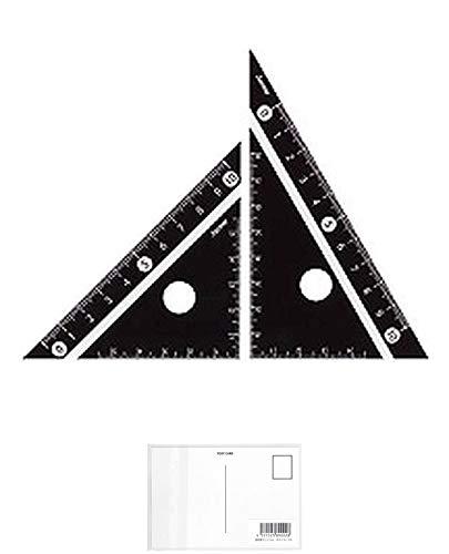 レイメイ藤井 定規 見やすい白黒 三角定規 黒 10cm APJ251B (5パック) + 画材屋ドットコム ポストカードA
