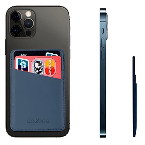 doeboe Tarjetero Movil de Cuero Adhesivo para iPhone 12 Pro MAX, Porta para Tarjeta de Crédito en el Teléfono Celular, Compatible on iPhone, Samsung, Todos los Teléfonos Inteligentes (Azul)