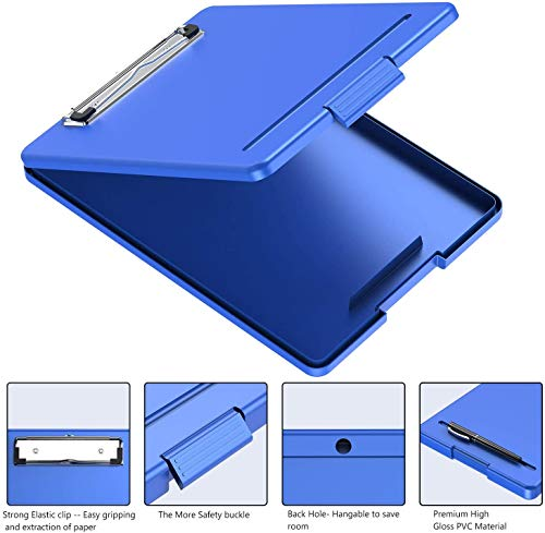 Clipboard with Storage, Plastic Storage Nursing Slim Clipboard with Low Profile Clip, Foldable Letter Size Recycled, for Nurse, Kid, Salary, Coach, Jobsite, Industrial, Office(9