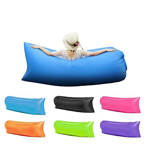 Owting Aufblasbare Liege, Luft-Sofa, leicht, wasserdicht und auslaufsicher, ideal für Outdoor, Reisen, Strandpartys, Picknick, Hinterhof (blau)