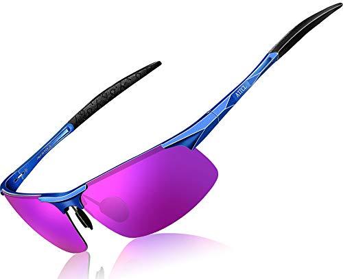 ATTCL Hombre Gafas De Sol Deportes Polarized Súper Ligero Al-Mg Marco De Metal 8177Blue-purple